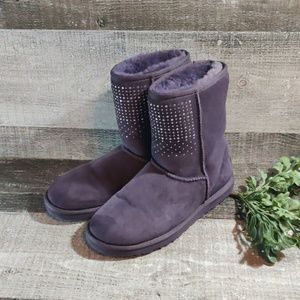 Purple crystal suede UGG boots